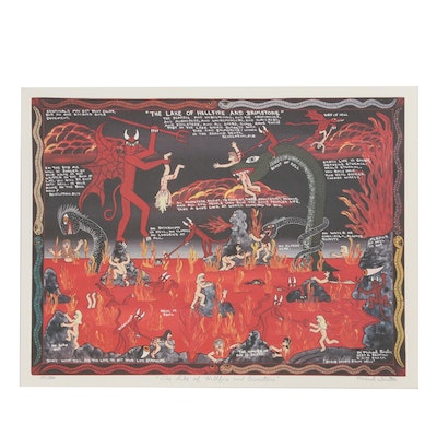 "Michael Finster Offset Lithograph ""The Lake of Hellfire and Brimstone"""