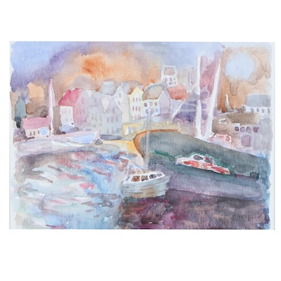 Murat Kaboulov Harbor Scene Watercolor Painting