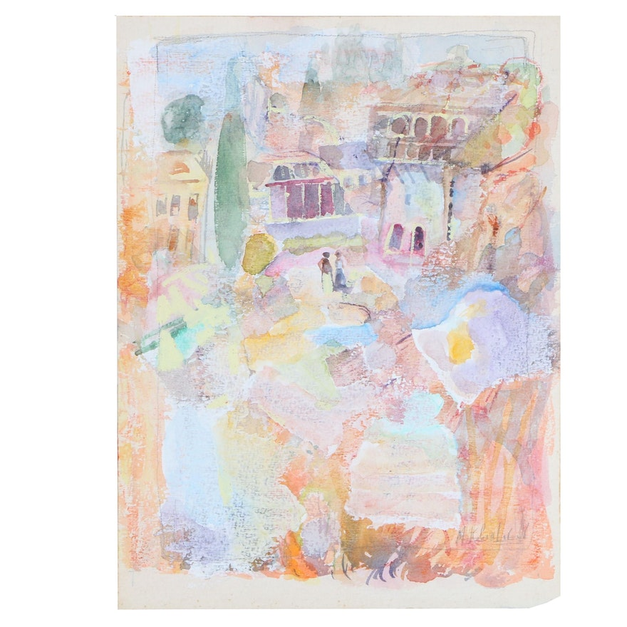 Murat Kaboulov Abstract Cityscape Watercolor and Gouache Painting