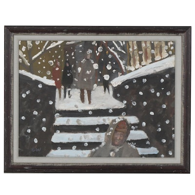 Acrylic Painting of a Figural Winter Scene