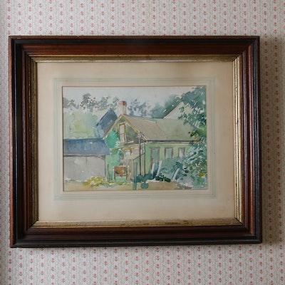 Watercolor Painting of Farm House, Mid to Late 20th Century