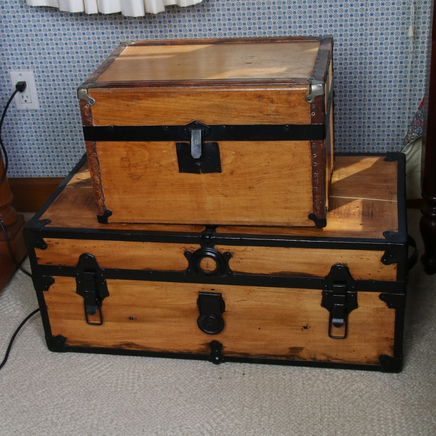 Flat Top Maple and Oak Travel Trunks, Antique