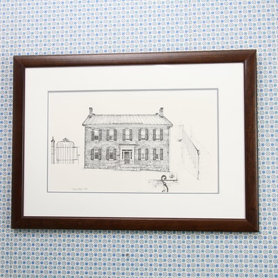 Mike Major Ink Drawing of Historic Urbana Home, 1985