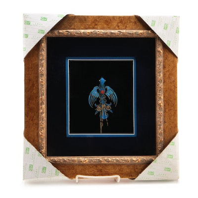 Chinese Tian-Tsui Kingfisher Feather Hairpin in Matted Frame