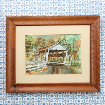 Watercolor Painting of Covered Bridge