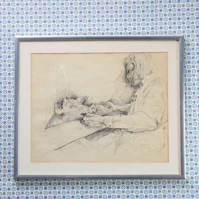 Mike Major Collotype Print of Figure with Pig, 1973