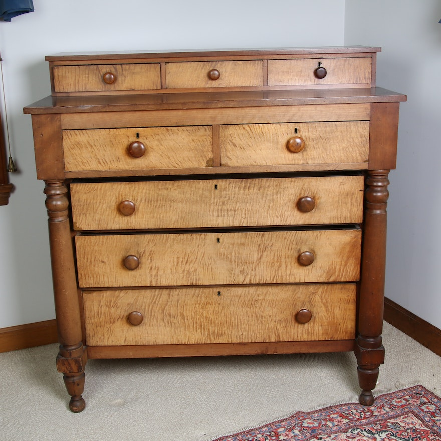 American Empire Curly Maple and Cherry Chest of Drawers, 19th Century