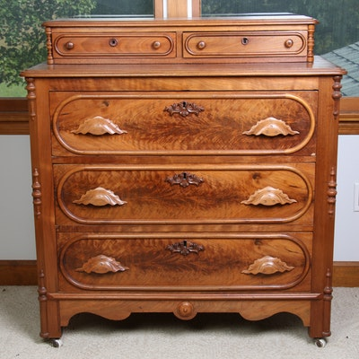 Victorian Walnut Deck-Top Chest of Drawers, circa 1880