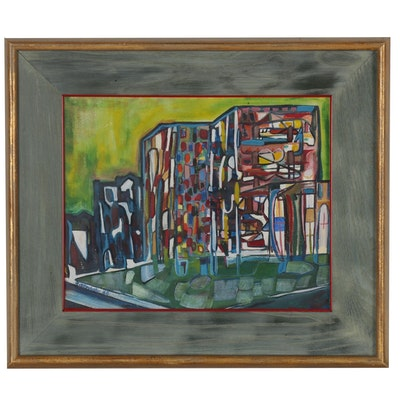 "Clare Rittershofer Gouache Painting ""Children's Hospital"", 1960"