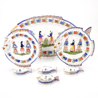 Henriot Quimper Hand-Painted Fish-Form Majolica Dinnerware, Made in France