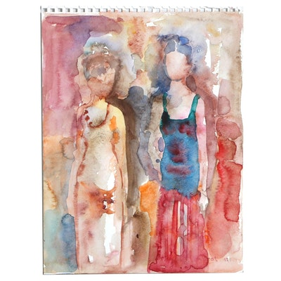 Murat Kaboulov Figural Watercolor Painting, 2005