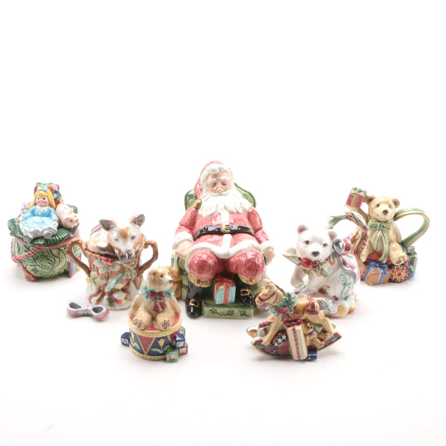 "Fitz and Floyd Candy Jar and Tableware Including ""Old Fashioned Christmas"""