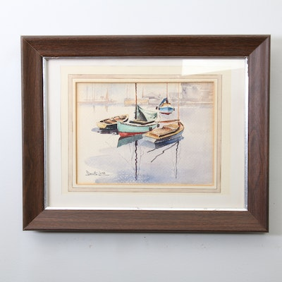 Denis Lord Watercolor Painting of Sailboats