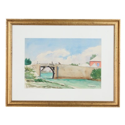 "Eliot P. Batchelder Watercolor Painting ""Nassau Bridge"", Late 20th Century"