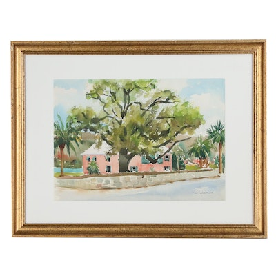 "Eliot P. Batchelder Watercolor Painting ""Nassau Cottage"", Late 20th Century"