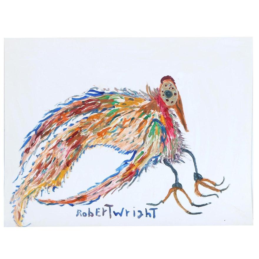 Robert Wright Folk Art Acrylic Bird Painting, Late 20th to 21st Century