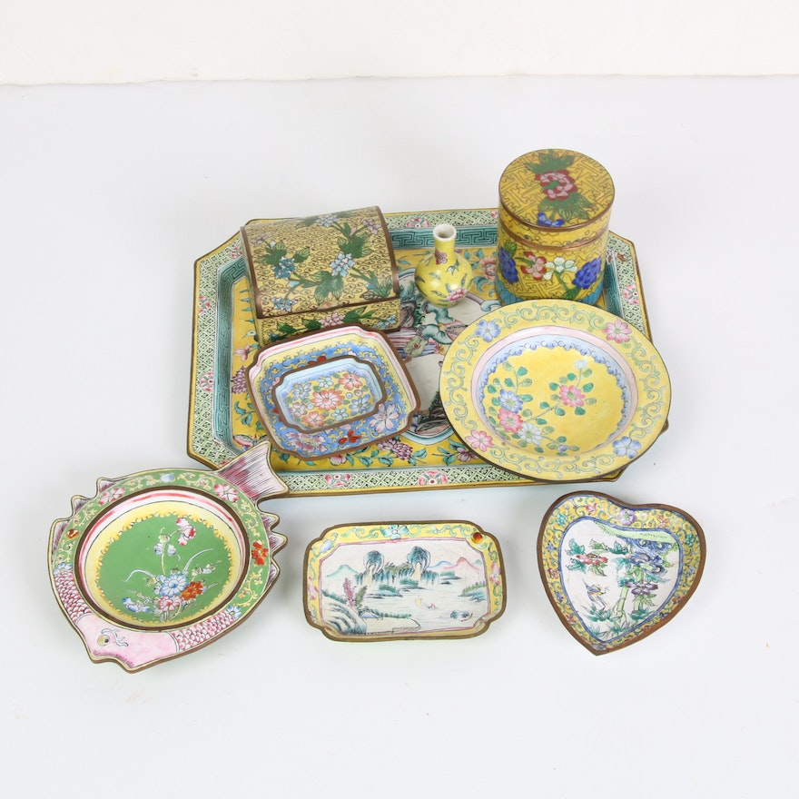 Chinese Famille Jaune Style Enamelware and Cloisonné, 20th Century