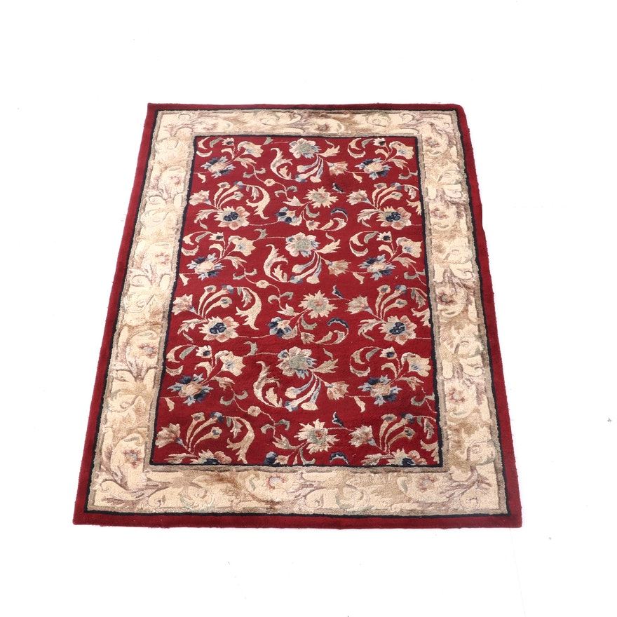 5'3 x 8'1 Hand-Tufted Indian Camelot Collection Wool Floral Rug