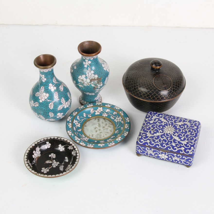 Chinese Cloisonné and Craved Bowenite Dish and Other Table Top Decor