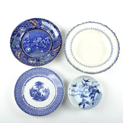 English Blue and White Ceramic Dinnerware with Japanese Porcelain Plate