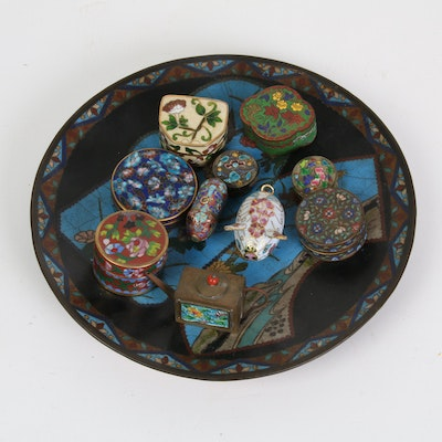 Chinese Cloisonné and Enameled Boxes, Charms and Bowl, Early-Mid 20th Century