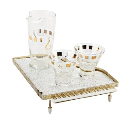 Keyboard Barware with Piano Serving Tray