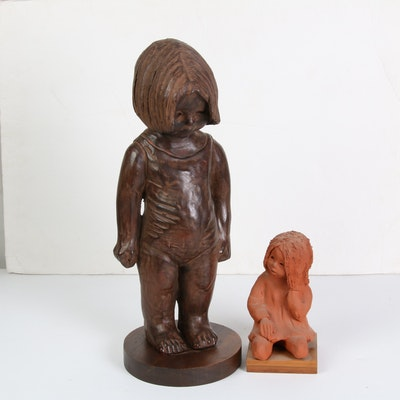 Carved Wood and Sculpted Clay Children Figurines Including Ann Entis