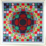 Neiman Marcus Op Art Silk Scarf Signed by Victor Vasarely, 1969