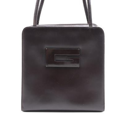 Gucci Big G Logo Shoulder Bag in Dark Brown Leather