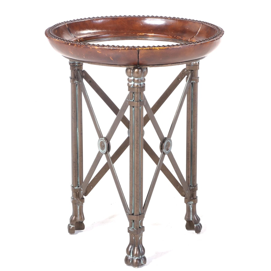 Neoclassical Style Bronze-Patinated Iron, Faux-Leather, and Glass Top Side Table