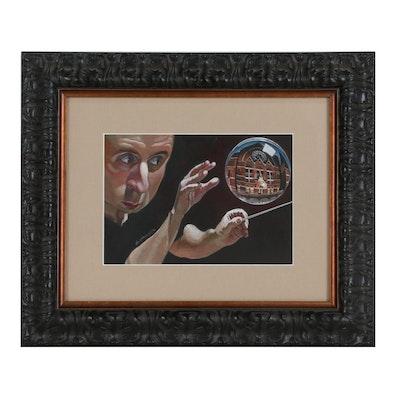 "Ryan Ostrander Mixed Media Painting ""Paavo Jarvi"""