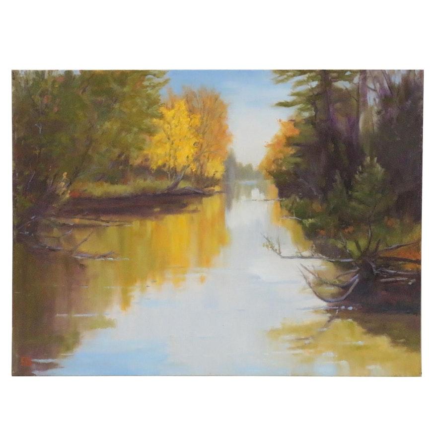 "Joe Stewart Landscape Oil Painting ""Crystal River"", 2013"
