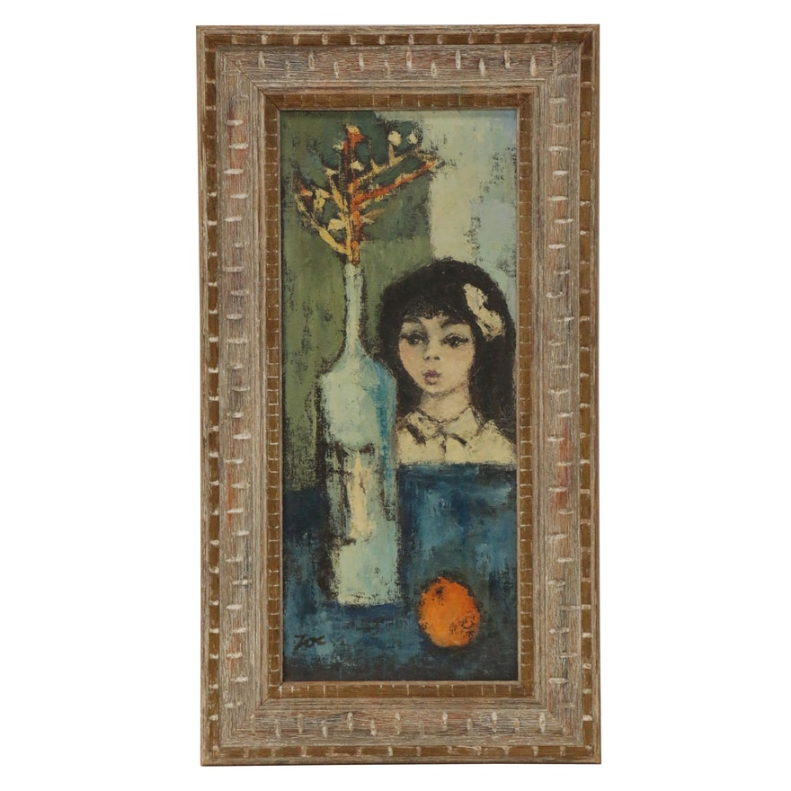 Oil Painting of a Girl and Still Life, Mid to Late 20th Century