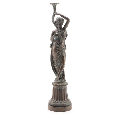 Brass Grecian Statuette Lamp Base of Woman Holding Acanthus Stalk