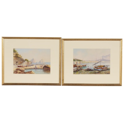 Maria Gianni Italian Landscape Gouache Paintings, Early to Mid-20th Century