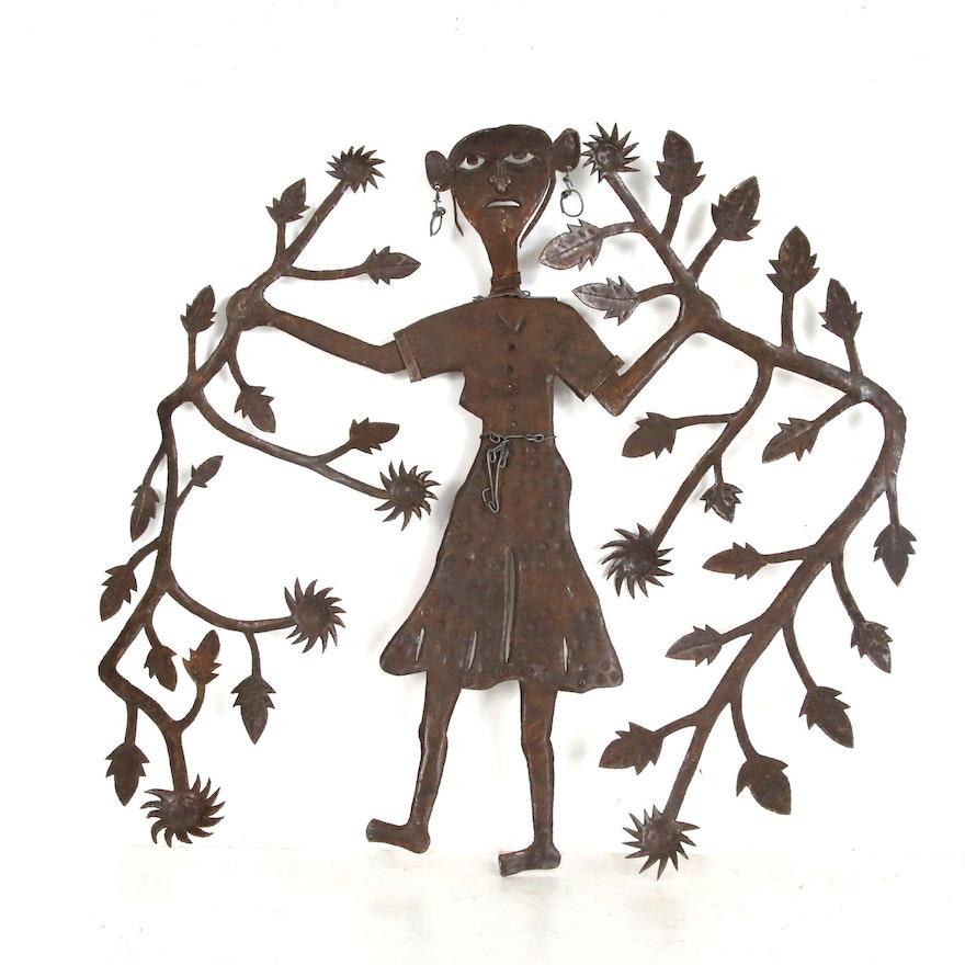 Gabriel Bien-Aimé Haitian Metal Sculpture of Woman with Tree Branches