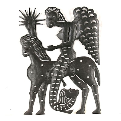 Serge Jolimeau Haitian Metal Relief Sculpture of Mythical Creatures, 1986