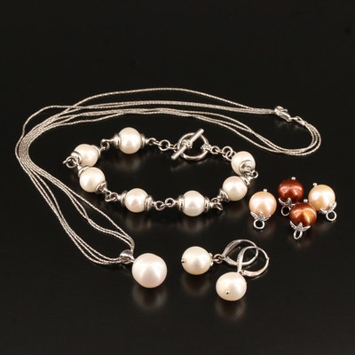 Sterling Silver Pearl and Diamond Necklace, Bracelet and Earrings Set