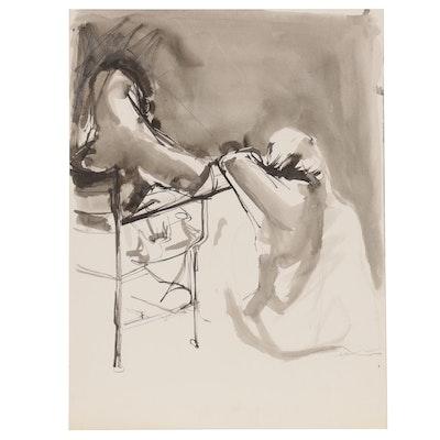 John Tuska Abstract Ink and Wash Figure Drawing