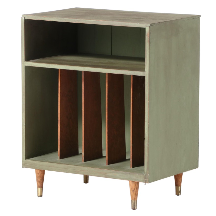 Mid Century Modern Parcel-Painted Record Cabinet