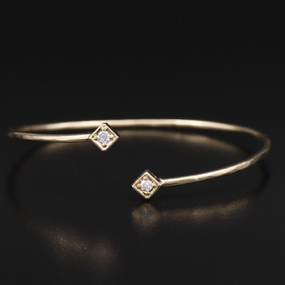 14K Diamond Textured Cuff