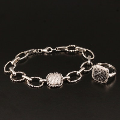 Sterling Silver Cubic Zirconia and Diamond Bracelet and Ring