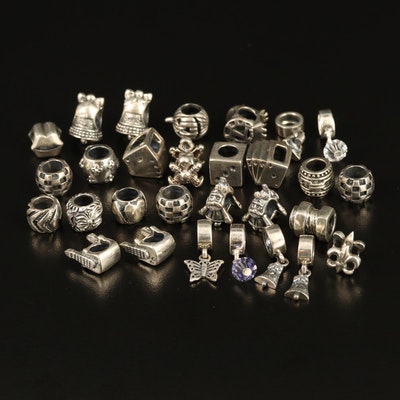 Sterling Silver Charms with Fleur-de-lis and Royal Flush Charms