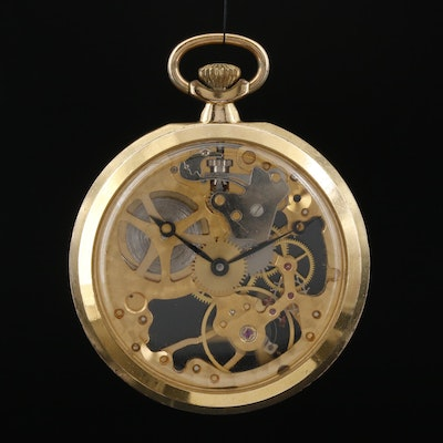 Swiss Colibri Skeleton Case Pocket Watch