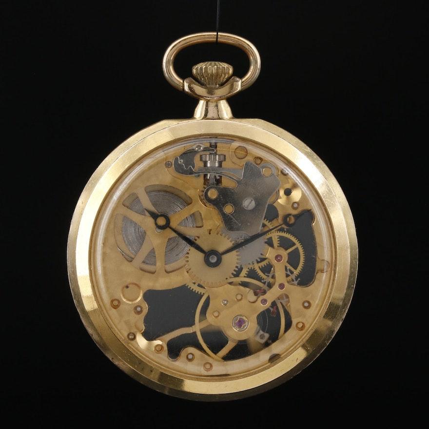 Swiss Colibri Skeleton Case Pocket Watch