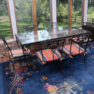 Painted Cast Iron Patio Set with Glass Top