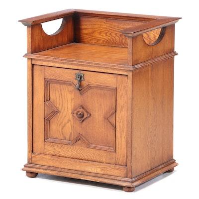 Oak Magazine Cabinet Side Table