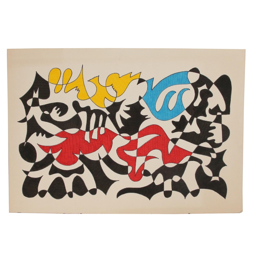 Abstract Ink Drawing, Late 20th Century