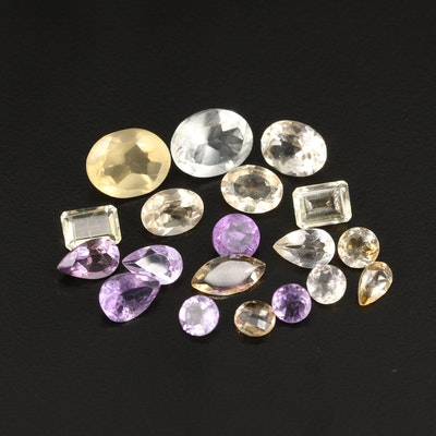 Loose 19.54 CTW Gemstone Selection Featuring Citrine, Amethyst and Prasiolite