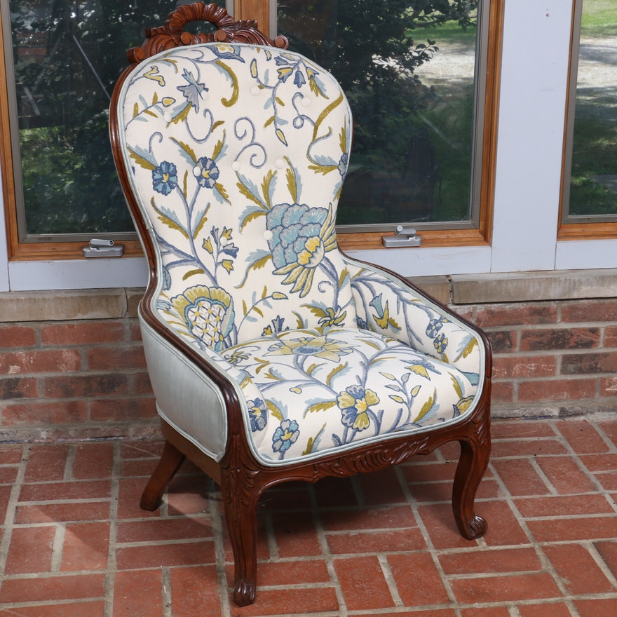French Provincial Style Armchair with Crewel Embroidered Upholstery